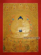 "43.75"" x 39.5"" Shakyamuni Buddha Gold Buddhist Tibetan Thangka Scroll Painting"