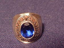 Vintage U.S. Navy Pride Sterling Mens Ring With Sapphire Stone