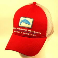 New Simms Adjustable Trout Trucker Hat Cap in Scarlet & Free Decal