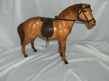 Vintage Leather Saddle & Horse Figurine Statue NICE