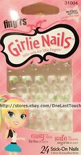 FING'RS GIRLIE 24 Stick/Press-On WHITE TIPS+STARS Nails Pink+Green #31004 2/3