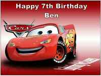 Cars Lightning Mcqueen Disney Personalised Cake Topper A4 Edible Wafer Paper