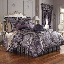 4-Pc J Queen Isabella King Comforter Set Damask Floral Purple Pewter Victorian