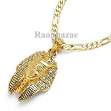 "NEW ICED OUT KING TUT PHARAOH MICRO PENDANT 5mm 24"" FIGARO CHAIN NECKLACE K7263G"