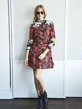 ZARA WOMAN RED PALM LEAF PRINTED OFF SHOULDER DRESS S 8 10!