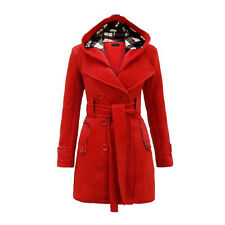 New Women's Warm Winter Hooded Trench Coat Wool Blends Long Jacket Outwear Tops