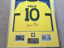 Pele Hand Signed Brazil Football Shirt Framed Display With COA Brazil Legend
