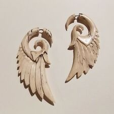 Angel Wing Feather Tribal Fake Gauge Earrings Light Wood Split Bridal Jewelry
