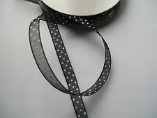 5 m x 9mm Organza Ribbon with White Polka Dot pattern - choose colour