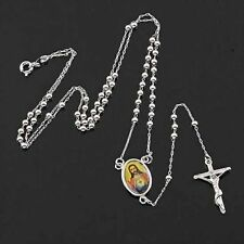 24 Inches 9K Silver & White Gold Filled Jesus Cross lucky Mens charm Necklace