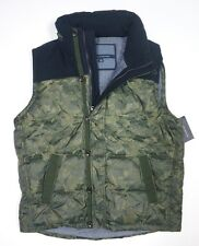 NEW MENS TOMMY HILFIGER DK ARMY GREEM CAMO PUFFER HOODED VEST JACKET SIZE S