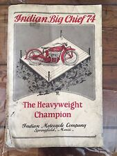 Antique 1925 Indian Big Chief Motorcycle Sales Brochure