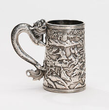 LATE 19TH C. CHINESE EXPORT SILVER TANKARD BY LEE CHING OF CANTON AND HONG KONG