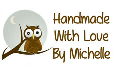 260 x Handmade By With Love Owl Design / PERSONALISED Self Adhesive MINI Labels
