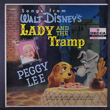 """PEGGY LEE: Songs From Lady And The Tramp LP (Mono, rainbow lbl, sm wobc, 2"""" cle"""