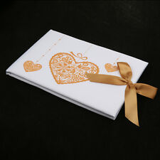 Romantic White Satin Gold Heart Bow Guest Signing Book Bridal Wedding Party