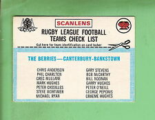 1977 SCANLENS RUGBY LEAGUE CHECKLIST - CANTERBURY BANKSTOWN, UNCHECKED