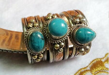 Adjustable Solid Tibetan 3-color Copper Round Turquoise Gemstone Dotted Ring