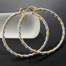035 GENUINE REAL 18K YELLOW WHITE MULTI-TONE G/F GOLD LADIES LARGE HOOP EARRINGS