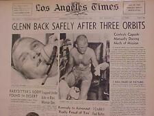 VINTAGE NEWSPAPER HEADLINE~NASA SPACE MAN SHIP ASTRONAUT ORBITS EARTH JOHN GLENN