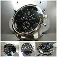 NEW Men's OVERSIZE TRENDY UNIQUE SPORTY CASUAL DRESS FASHION Silver WRIST WATCH