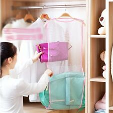 Clothes Rack Drying Hanging Dryer Mesh Laundry Towel Folding Double Storage Bag