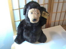 """Beautiful Vintage Large 16"""" Black Hand Crafted Teddy Bear Falco 1977 NOS w/ tags"""