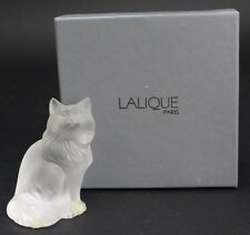 Signed LALIQUE 1179600 Heggie Cat Frosted Glass Figurine Paperweight NR RDC