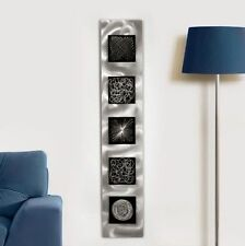 Large Abstract Black/Silver Metal Wall Art Sculpture - Modern Contemporary Decor