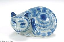 "Blue Cat Gorgeous Asian Striped Tabby Cat Made in China Blue Tones 6"" New 3312"