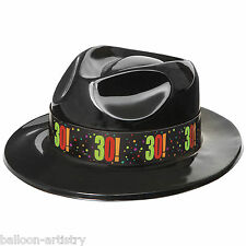 3 Adult Cheery Balloons Black 30! 30th Birthday Fancy Dress Gangster Party Hats