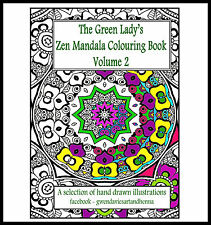 Adult Colouring book Zen Mandalas Volume 2 zentangle doodle art therapy stress