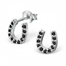 Sterling Silver 925 Black Crystal Horse Shoe Stud Earrings