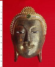 Thai Buddha Face Image - Wood/Gold - Carved Wooden Sculpture