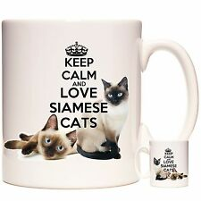Keep Calm And Love SIAMESE CATS Gift Mug Can be personalised Dishwasher safe
