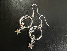 A Pair of Moon and dangle Star Earrings  Tibetan Silver Cute Kitch
