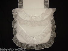 Beautiful Pram Quilt and Pillow Set romany. Style  suitable for MOST PRAMS WHITE