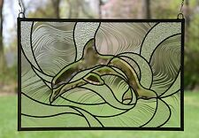 """24.25"""" x 16.5"""" Tiffany Style stained glass Clear Beveled Dolphin window panel"""