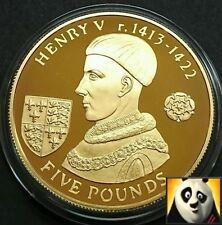 2007 ALDERNEY £ 5 Cinque sterline RE ENRICO V argento e oro placcato Proof Coin + COA