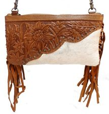 Western Inspired Montana West Purse Genuine Tooled Leather Fur Cross Body Purse
