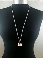 "A Cartoon Fox face Charm Pendant with 30"" long Silver Tone Chain Necklace"