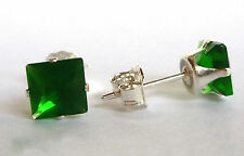 EMERALD STERLING SILVER STUD EARRINGS SQUARE PRINCESS 5MM LAB-CREATED STONE S774