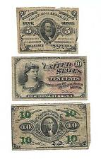 Set of 3 U.S. CIVIL WAR era Fractional notes : one 5 Cents + two 10 Cents notes