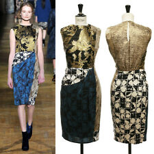 runway DRIES VAN NOTEN gold oriental print fabric patch sheath dress FR42 US10 L