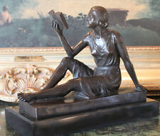 Woman Reading Book Librarian Library Patron Art Bronze Marble Statue Collectible