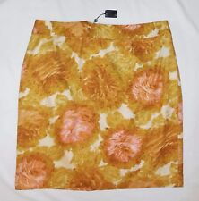 Talbots Woman 18W 20W Straight Skirt NEW Yellow Pink Career Plus Floral