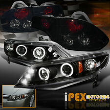 06-11 Honda Civic 4Dr Halo Projector LED Black Headlight + Dark Smoke Tail Light