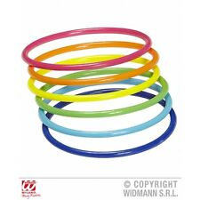 Neon Multicolour Bangles Set of Jewellery for Rave Glow UV Fancy Dress Accessory