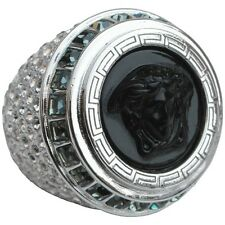 Versace Black Medusa Crystal Oversized Silver-Tone Statement Ring