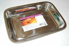 NEW STAINLESS STEEL ROASTING BAKING TRAY OVEN TIN  34cm PRIMA